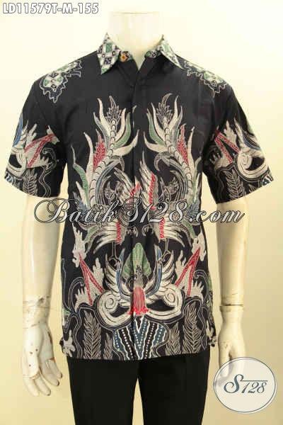 Baju Batik Trendy Lengan Pendek Motif Keren, Kemeja Batik Elegan Dasar Hitam Desain Kekinian Proses Tulis, Pas Buat Kerja Kantoran [LD11579T-M]