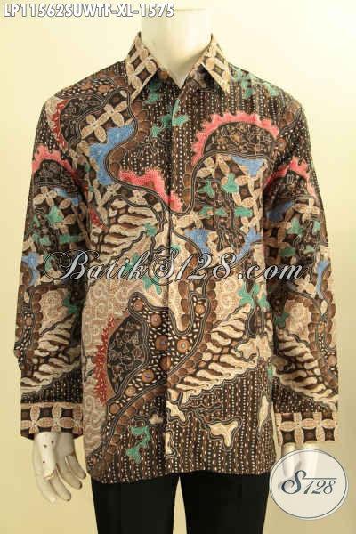 Baju Kemeja Batik Tulis Elegan Lengan Panjang Premium, Busana Batik Solo Asli Bahan Sutra Twis Pakai Lapisan Furing, Menunjang Penampilan Lebih Sempurna [LP11562SUWTF-XL]