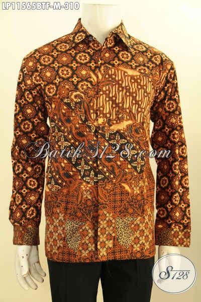 Busana Batik Istimewa Model Lengan Panjang Buat Lelaki Muda, Pakaian Batik Nan Berkelas Motif Klasik Kombinasi Tulis Daleman Full Furing Hanya 300 Ribuan [LP11565BTF-M]