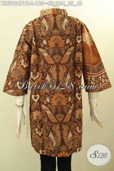 Blouse Batik Elegan Model Terbaru Lengan 3/4, Pakaian Batik Modis Dengan Kombinasi 2 Warna Dan 2 Motif Proses Printing Cabut Untuk Penampilan Trendy Dan Mewah, Pas Untuk Ngantor Atau Ke Acara Resmi [BLS9006PB-L]