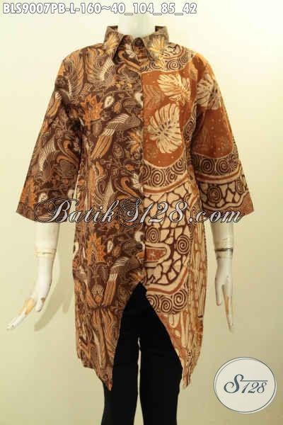 Baju Batik Blouse Elegan Dengan Kombinasi 2 Warna, Busana Batik Desain Modern Dual Motif Elegan Proses Printing Cabut Bahan Adem Lengan 3/4, Pas Untuk Kerja Dan Acara Formal Hanya 160 Ribu [BLS9007PB-L]
