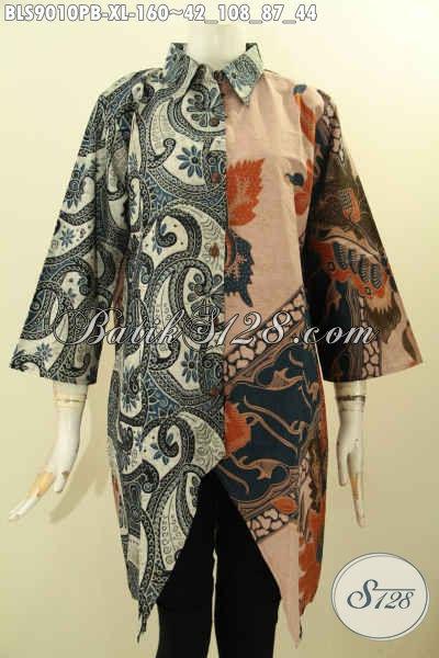Baju Batik Kerja Wanita Tren 2020, Blouse Batik Solo Nan Elegan Dengan Kombinasi 2 Warna, Pakaian Batik Cewek Dual Motif Elegan Proses Printing Cabut Lengan 3/4, Tampil Modis Dan Berkelas [BLS9010PB-XL]