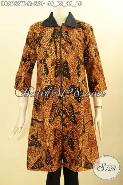 Batik Dress Premium Wanita Muda, Hadir Dengan Motif Klasik Proses Tulis, Busana Batik Cewek Desain Terbaru Dengan Kerah Lengan 3/4 Di Lengkapi Resleting Depan Dan Lapisan Tricot, Cocok Banget Untuk Acara Resmi [DR8958TF-M]