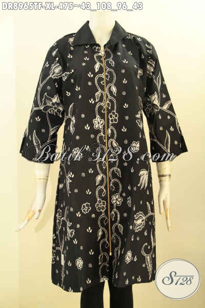 Jual Online Batik Dress Wanita Terkini, Baju Batik Tulis Nan Mewah Lengan 3/4 Full Tricot, Busana Batik Istimewa Desain Kerah Resleting Depan, Bisa Untuk Santai Maupun Resmi
