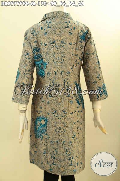 Dress Batik Bagus Motif Mewah Warna Berkelas, Baju Batik Printing Solo Nan Elegan Model Kerah Lengan 7/8, Istimewa Untuk Acara Formal Atau Kondangan