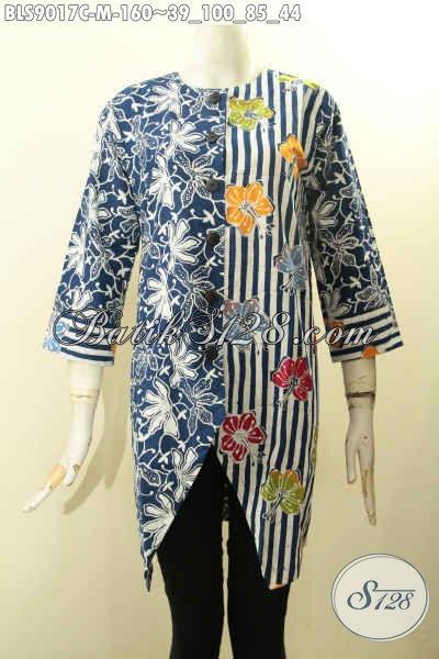 Busana Batik Wanita Kombinasi, Pakaian Batik Atasan Untuk Cewek Desain Terkini Kancing Depan Dengan Lengan Panjang 7/8 Motif Unik, Tampil Cantik Trendy [BLS9017C-M]