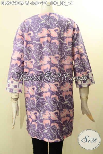 Jual Baju Batik Blouse Modern Lengan Panjang 7/8, Busana Batik Berkelas Berpadu Dengan Motif Trendy Kwalitas Istimewa Proses Cap Dan Di Lengkapi Kancing Depan, Cocok Juga Untuk Acara Resmi [BLS9020C-M]