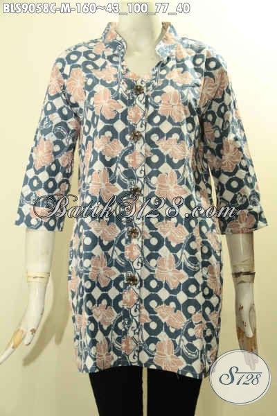 Batik Blouse Modis Motif Bunga Model Lengan 3/4 Di Lengkapi Kancing Depan, Baju Batik Proses Cap Nan Istimewa, Pas Buat Kerja Dan Santai [BLS9058C-M]