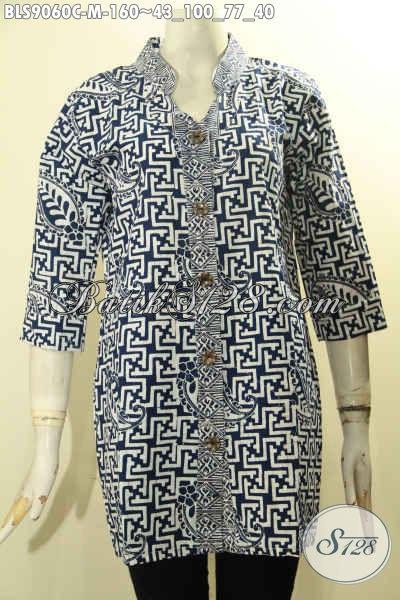 Jual Busana Batik Solo Modis Lengan 3/4, Pakaian Batik Modern Motif Bagus Cocok Buat Seragam Kerja Atau Jalan-Jalan Proses Cap, Tampil Kece Badai [BLS9060C-M]