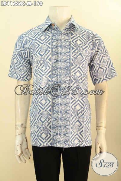 Busana Batik Pria Muda Untuk Tampil Tampan Gagah Dan Keren, Kemeja Batik Modis Motif Bagus Proses Cap Model Lengan Pendek, Bisa Juga Untuk Acara Resmi [LD11686C-M]