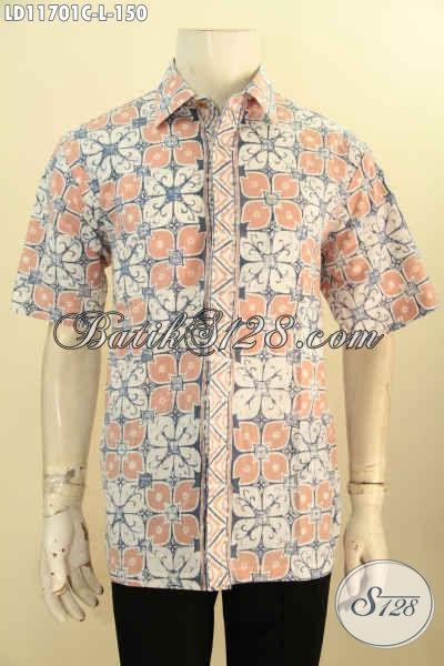Baju Batik Bagus Untuk Kantoran, Kemeja Batik Kerja Modis Motif Dan Bahan Tren Masa Kini Proses Cap, Penampilan Makin Tampan Dan Stylish [LD11701C-L]