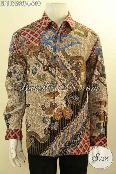 Kemeja Batik Elegan Desain Mewah Lengan Panjang Full Furing, Pakaian Batik Solo Asli Motif Klasik Proses Tulis, Pas Untuk Kondangan Atau Rapat