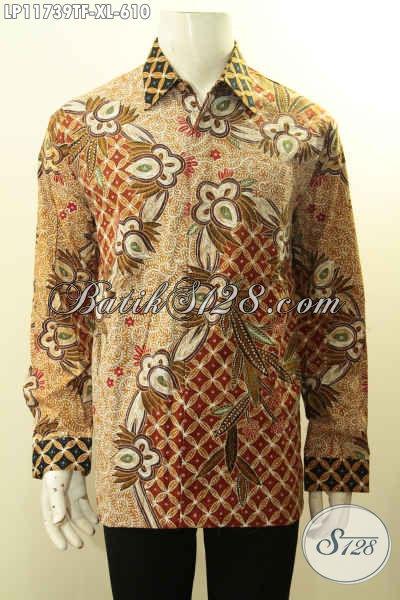 Baju Batik Kerja Pria Eksekutif, Pakaian Batik Cowok Sukses Model Lengan Panjang Motif Mewah Tulis Asli Dengan Daleman Full Furing, Menunjang Penampilan Makin Sempurna [LP11739TF-XL]