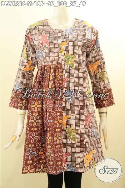 Pakaian Batik Kerja Wanita Kantoran Lengan Panjang Elegan Desain Berkelas Resleting Belakang Bahan Adem Tampil Modis [BLS9081C-M]