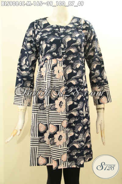 Batik Blouse Wanita Muda Desain Keren Lengan Pendek Resleting Belakang, Pakaian Batik Solo Istimewa Motif Kekinian Hanya 100 Ribuan [BLS9084C-M]