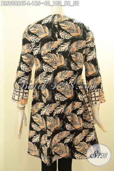 Blouse Batik Bagus Desain Terkini Model Lengan Panjang Resleting Belakang Motif Trendy, Cocok Buat Kerja Atau Jalan-Jalan [BLS9088C-L]