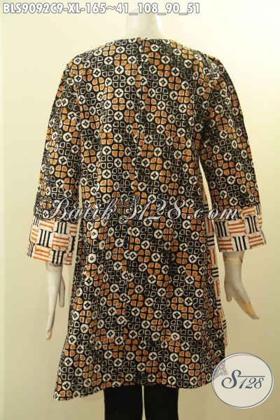 Produk Baju Batik Wanita Terkini, Blouse Batik Lengan Panjang Motif Elegan Di Lengkapi Resleting Belakang Yang Bikin Penampilan Cantik Menawan [BLS9092C-XL]