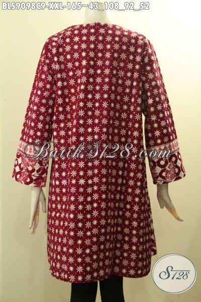 Baju Batik Big Size Warna Merah Wanita Gemuk, Blouse Batik Solo Asli Model Terbaru Yang Membuat Penampilan Lebih Cantik Anggun [BLS9098C-XXL]