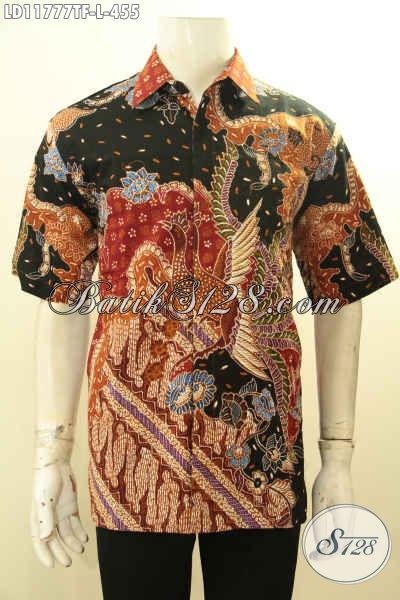 Kemeja Batik Branded Lengan Pendek Motif Mewah Proses Tulis, Busana Batik Pria Terkini Full Furing, Cocok Untuk Kerja Atau Acara Resmi Tampil Gagah [LD11777TF-L]