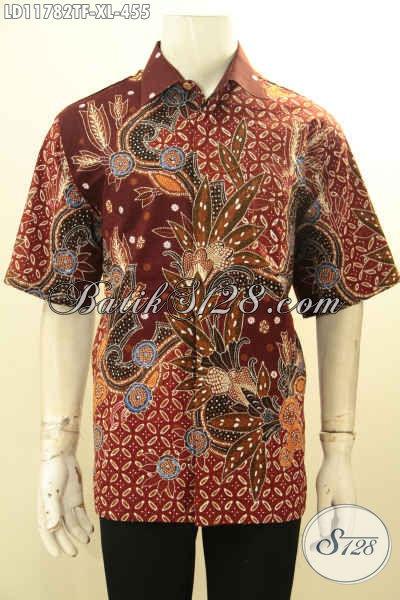 Pusat Busana Batik Solo Premium Online, Jual Kemeja Lengan Pendek Full Furing Model Terbaru Motif Bagus Proses Tulis, Pilihan Tepat Tampil Gagah Dan Gaya [LD11782TF-XL]
