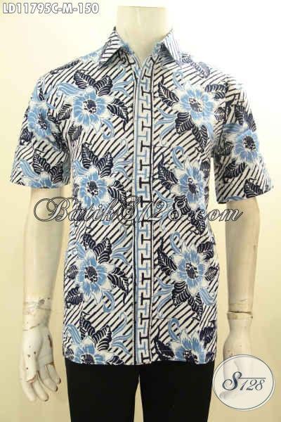 Baju Batik Casual Cowok Lengan Pendek, Kemeja Batik Modis Kekinian Kwalitas Istimewa Motif Trendy Proses Cap, Bisa Untuk Kerja Atau Jalan-Jalan [LD11795C-M]