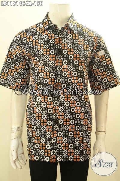 Kemeja Batik Lengan Pendek Elegan Dengan Desain Motif Unik, Baju Batik Pria Dewasa Nan Istimewa Bahan Halus Dengan Harga Terjangkau [LD11814C-XL]
