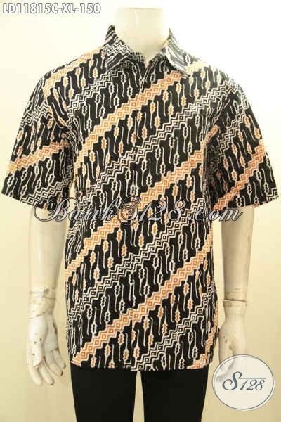 Kemeja Batik Pria Lengan Pendek Motif Parang, Busana Batik Solo Halus Warna Bagus Desain Berkelas, Pas Untuk Kerja Atau Acara Resmi [LD11815C-XL]