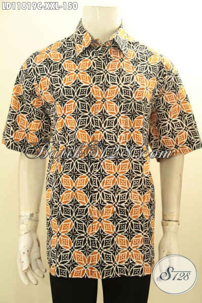 Busana Batik Pria Lengan Pendek Big Size, Pakaian Batik Halus Desain Terbaru Berpadu Motif Kekinian Yang Bikin Penampilan Lebih Tampan Menawan [LD11819C-XXL]
