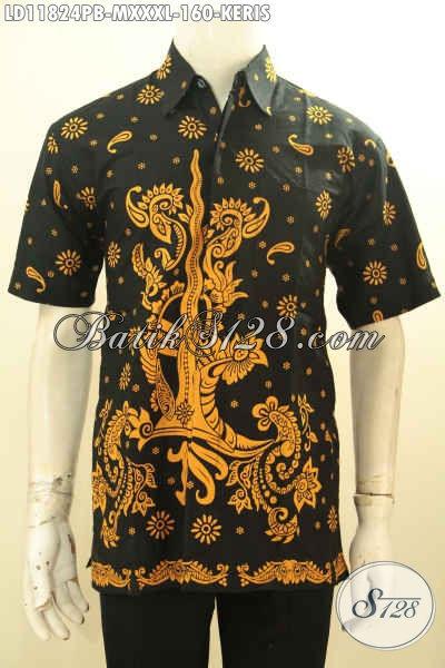 Aneka Busana Baitk Pria Elegan Motif Keris, Kemeja Batik Trendy Kwalitas Bagus Proses Printing Cabut, Istimewa Buat Kerja Dan Hengout [LD11824PB-M]