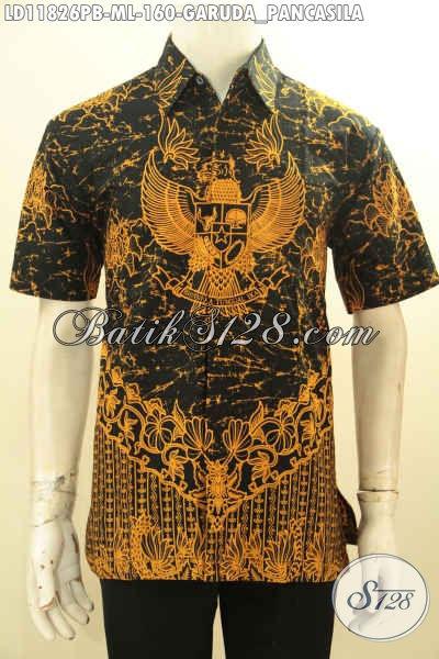 Kemeja Batik Berkelas Model Lengan Pendek Motif Garuda Pancasila, Busana Batik Solo Asli Bahan Halus Nyaman Di Pakai Kerja Atau Acara Resmi [LD11826PB-M , L]