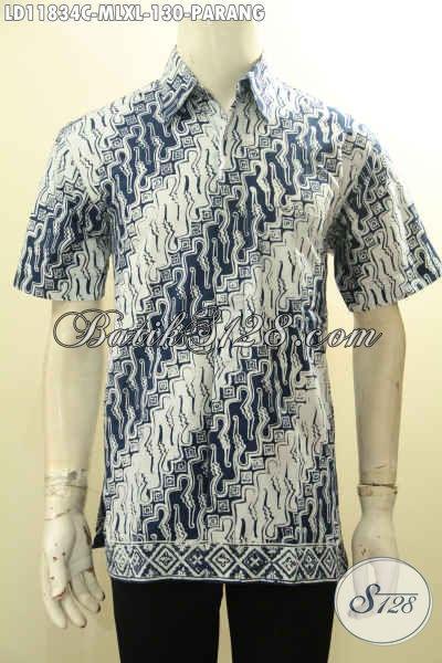 Kemeja Batik Elegan Klasik Motif Parang Dengan Warna Cerah, Busana Batik Solo Terbaru Untuk Kerja Dan Acara Resmi, Tampil Gagah Berkelas [LD11834C-M]