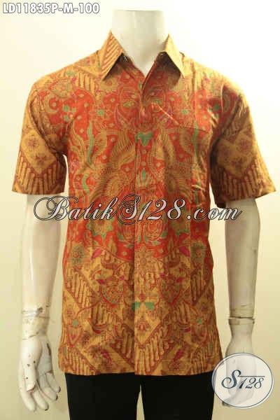 Busana Batik Kerja Pria Lengan Pendek Buatan Solo Asli, Kemeja Batik Halus Motif Berkelas Proses Printing, Tampil Tampan Berwibawa [LD11835P-M]