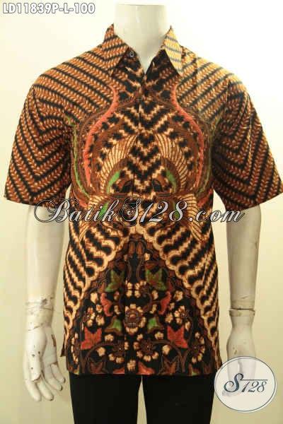 Busana Batik Solo Jawa Tengah Lengan Pendek Motif Elegan Klasik, Pakaian Batik Istimewa Proses Printing Yang Modis Buat Kerja Dan Berkelas Untuk Acara Resmi  [LD11839P-L]