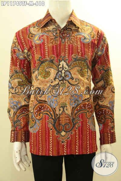 Koleksi Terbaru Kemeja Batik Pria Premium Lengan Panjang Full Furing, Busana Batik Tulis Asli Solo Nan Meewah, Cocok Untuk Rapat Atau Kondangan [LP11749TF-M]