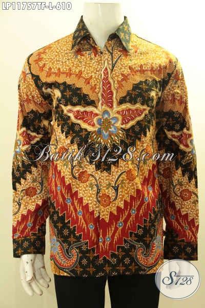 Busana Batik Pria Lengan Panjang Mewah Motif Bagus Di Lengkapi Furing, Baju Batik Tulis Solo Premium Pilohan Tepat Tampil Elegan Dan Sempurna [LP11757TF-L]