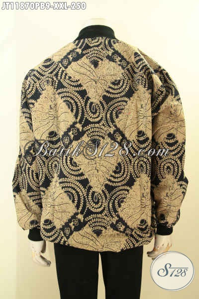 Jaket Bomber Batik Solo Nan Elegan Dan Berkelas, Batik Jaket Tren Masa Kini Eksklusif Untuk Yang Berbadan Gemuk Di Lengkapi Lapisan Furing Dormeuil, Edisi Terbatas [JT11870PB-XXL]
