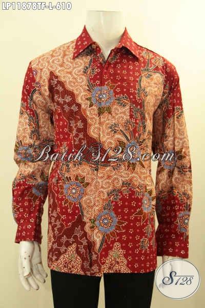 Produk Baju Batik Solo Premium Model Tangan Panjang, Busana Batik Solo Istimewa Pakai Furing Bahan Halus Dan Ringan, Penampilan Lebih Berkelas Dan Mewah Proses Tulis [LP11878TF-L]