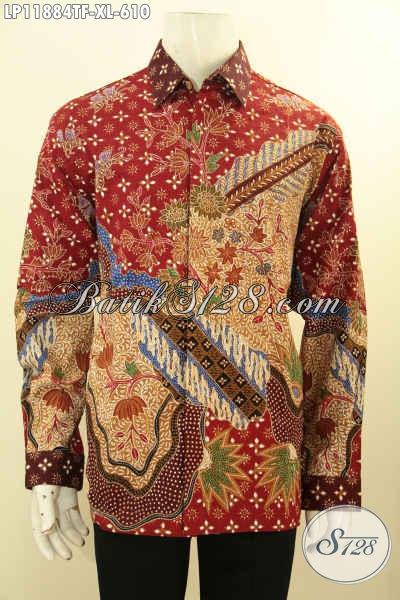 Kemeja Batik Batik Kerja Pria Sukses Tulis Asli, Pakaian Batik Tangan Panjang Full Furing Motif Bagus Terkini, Cocok Juga Untuk Acara Resmi Dan Kondangan [LP11884TF-XL]
