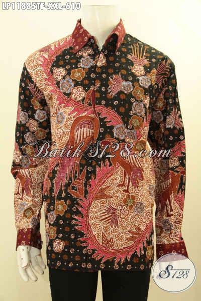 Kemeja Batik Tulis Big Size Tangan Panjang, Busana Batik Full Furing Untuk Pria Gemuk Motif Bagus, Tampil Gagah Bak Eksekutif [LP11885TF-XXL]