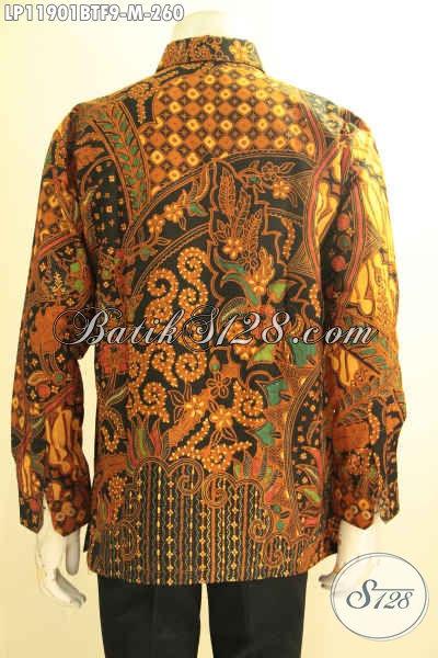 Kemeja Batik Kombinasi Tulis Tangan Panjang Full Furing, Busana Batik Solo Elegan Full Furing Bahan Halus Motif Terbaru Hanya 200 Ribuan Saja [LP11901BTF-M]