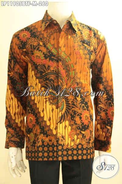 Kemeja Batik Kombinasi Tulis Tangan Panjang Cocok Untuk Kondangan Dan Acara Resmi, Pakaian Batik Pria Halus Full Furing Yang Bikin Penampilan Lebih Berkelas [LP11905BTF-M]