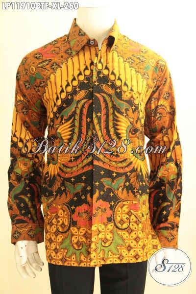 Kemeja Batik Solo Tangan Panjang Elegan, Busana Batik Desain Formal Nan Berkelas Motif Klasik Kombinasi Tulis Di Lengkapi Furing, Tampil Makin Percaya Diri [LP11910BTF-XL]
