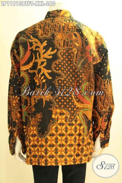 Kemeja Batik pria Kemuk Tangan Panjang, Pakaian Batik Istimewa Pakai Furing Motif Elegan Kombinasi Tulis, Pilihan Tepat Tampil Berwibawa [LP11913BTF-XXL]