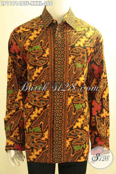 Kemeja Batik Big Size Eksklusif Untuk Lelaki Gemuk, Baju Batik Solo Tangan Panjang Mewah Motif Bagus Kombinasi Tulis Di Lengkapi Lapisan Furing, Tampil Gagah Menawan [LP11914BTF-XXXL]