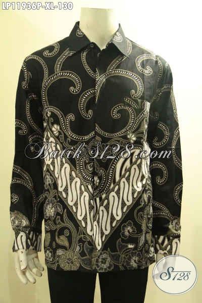 Pusat Baju Batik Pria Online, Sedia Kemeja Tangan Panjang Halus Motif Bagus Bahan Adem Proses Printing, Tampil Gagah Berwibawa [LP11936P-XL]