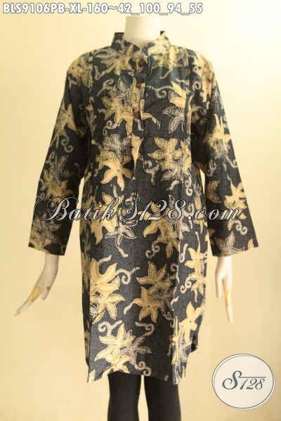 Model Busana Batik Wanita Masa Kini, Pakaian Batik Blouse Solo Asli Lengan 7/8 Kerah Shanghai Bahan Halus Di Lengkapi Kancing Depan Dan Kantong Dalam Hanya 100 Ribuan Saja [BLS9106PB-XL]