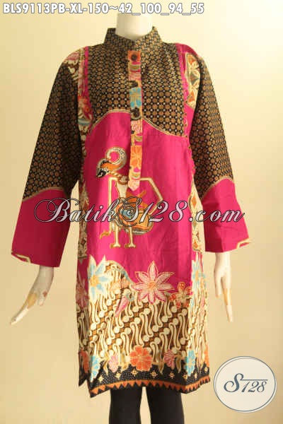 Baju Batik Solo Spesial Buat Wanita Dewasa, Blouse Batik Ukuran XL Kerah Shanghai Lengan 7/8 Motif Bagus Nan Elegan Printing Cabut, Tampil Cantik Dan Berkelas [BLS9113PB-XL]