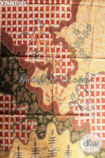 Kain Batik Halus Motif Mewah Dan Berkelas Jenis Tulis Asli, Batik Kain Solo Pola Kemeja Lengan Panjang Nan Istimewa, Pas Untuk Pakaian Formal Para Lelaki [K3468T-240x110cm]