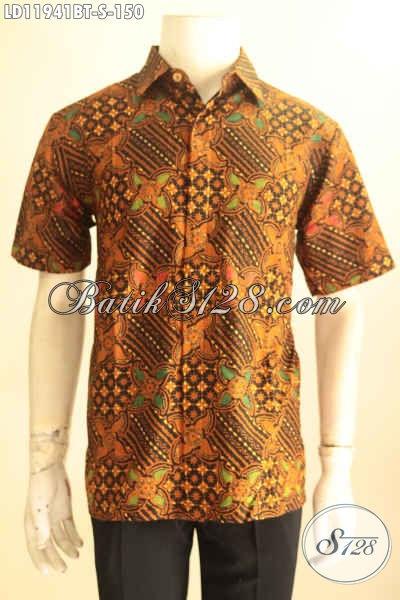 Kemeja Batik Pria Lengan Pendek Warna Elegan Klasik Motif Bagus Jenis Kombinasi Tulis, Busana Batik Pria Muda Untuk Kerja Dan Acara Resmi Tampil Gagah [LD11941BT-S]