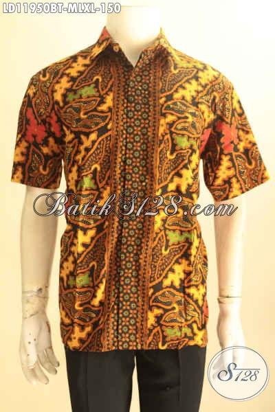 Baju Batik Pria Motif Elegan Klasik Jenis Kombinasi Tulis, Pakaian Batik Solo Jawa Tengah Halus Yang Menunjang Penampilan Pria Lebih Gagah Dan Berkelas [LD11950BT-M , L]